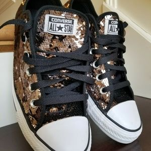 Converse Black All Stars w/ Black Coppery Sequins